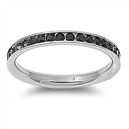 Lex and Lu 3mm Stainless Steel Black CZ Eternity Comfort Fit Band Ring Size 3-9