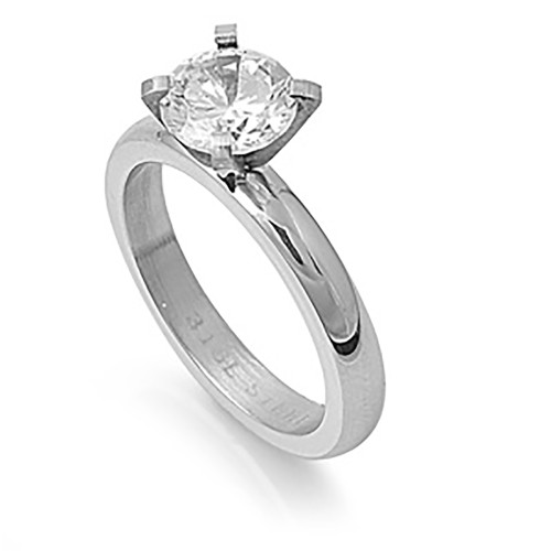 Lex and Lu Ladies Fashion Stainless Steel Ring w/ Clear Gem And 3mm Band