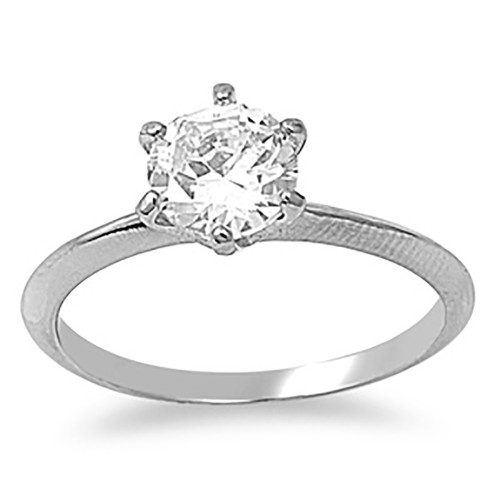 Lex and Lu Ladies Fashion Stainless Steel Ring w/ Clear 7mm Gem And 2mm Band