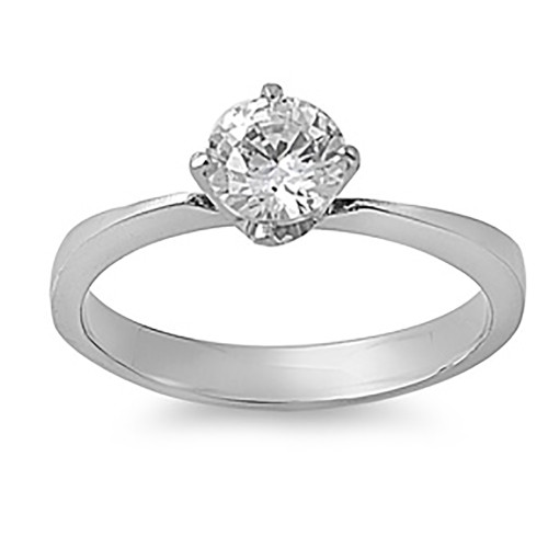 Lex and Lu Ladies Fashion Stainless Steel Ring w/ Clear 6mm Gem And 3mm Band