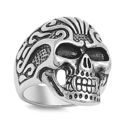 Lex and Lu Men's Fashion Stainless Steel Skull Biker Ring w/2 Black Eyes