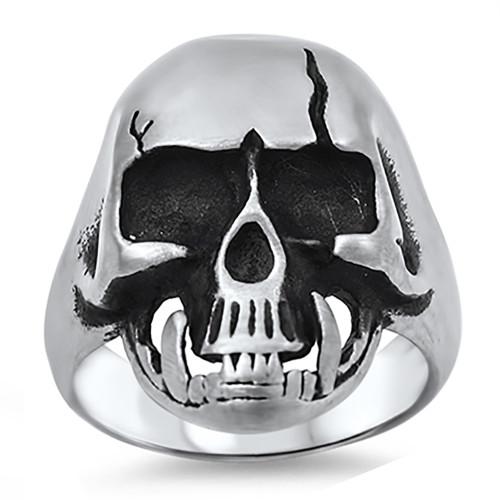 Lex and Lu Men's Fashion Stainless Steel Skull Biker Ring w/Cracked Skull