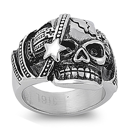Lex and Lu Men's Fashion Stainless Steel Skull Biker Ring w/Star on Face