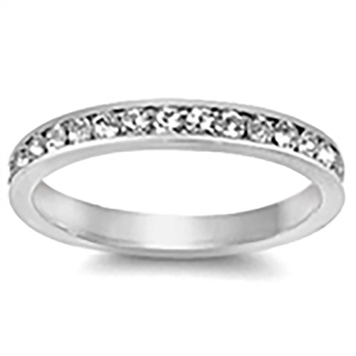 Lex and Lu 3mm .925 Sterling Silver CZ Eternity Comfort Fit Band Ring Size 5-9