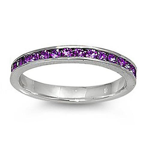 Lex and Lu 3mm .925 Sterling Silver Purple CZ Eternity Comfort Fit Band Ring Size 5-9
