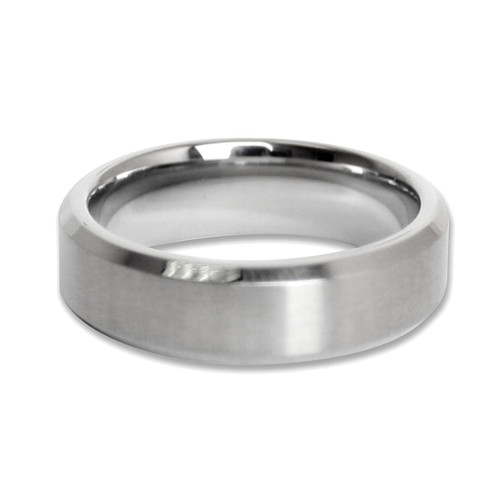 Mens Brushed Finished Stainless Steel 7mm Band Ring-Lex and Lu