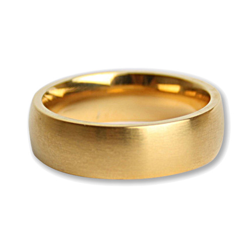 Mens Brushed Stainless Steel Gold Plated 7mm Band Ring-Lex and Lu