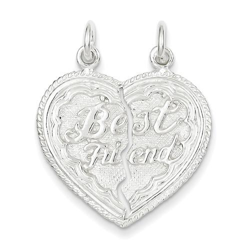 Lex and Lu Sterling Silver Best Friend 2-piece break apart Heart Charm