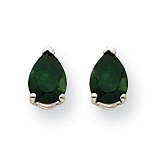 14k White Gold Green Tourmaline Earrings XE80WGT-B-Lex and Lu