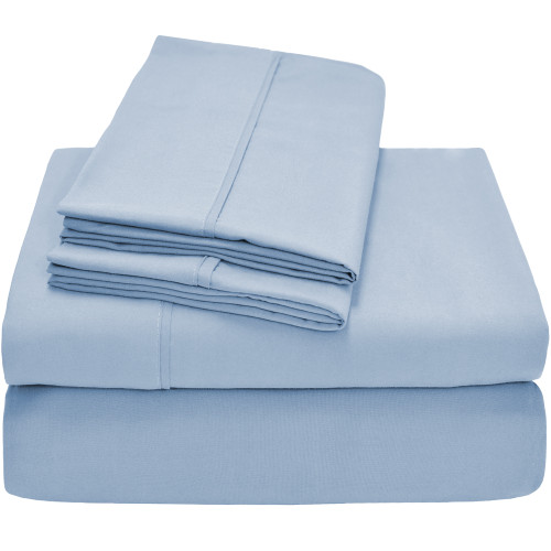 Premium Ultra-Soft Microfiber Twin XL Sheet Set - Light Blue