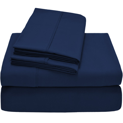 Bare Home Premium Ultra-Soft Microfiber Sheet Set - Twin - Dark Blue