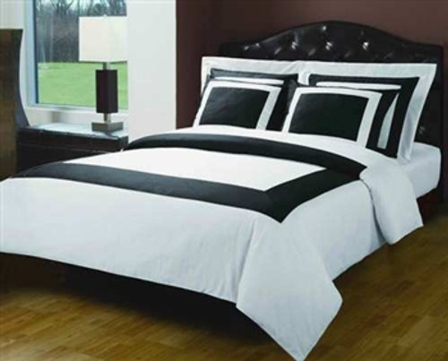 Premium 100% Egyptian Cotton 7 Piece Oxford Black and White Bed Set