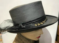 Grace Fedora with feather and leather