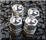 """R"" Performance Valve Stem Cap Set (Black option)"