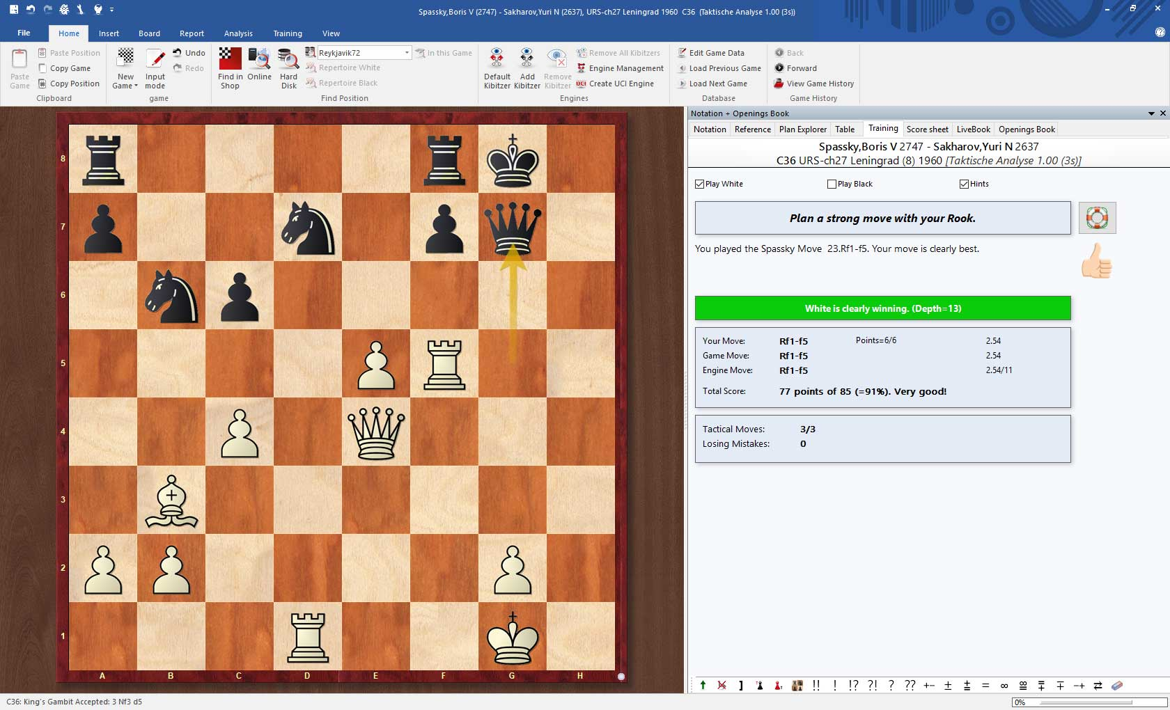 Replay Training in ChessBase 15