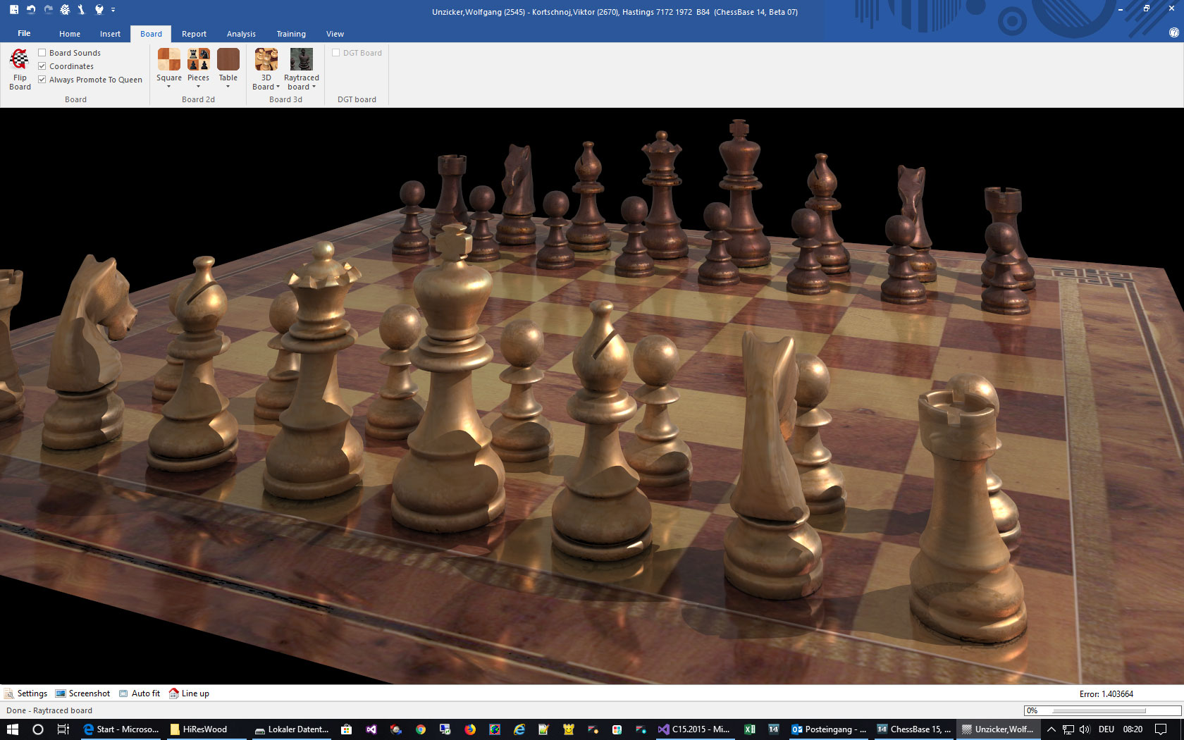 Chess Set Wood in ChessBase 15