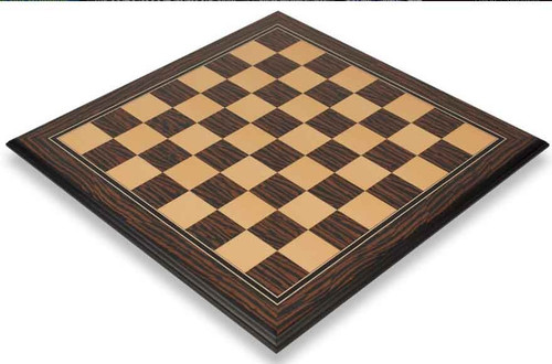 "Striped Ebony and Maple Elite Chess Board with 2.375"" squares"
