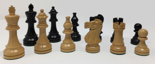"Duke Chess Pieces in Black Lacquer with 3.75"" King"
