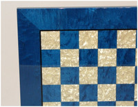 Adriatic - Blue Burl and Mother of Pearl Chess Board