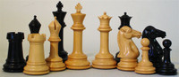 "Excalibur Chess Pieces in Ebony with 4"" King in vinyl box"