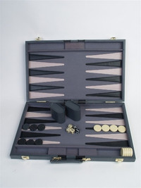 "Backgammon Set, 21"" Black Leatherette Attache"