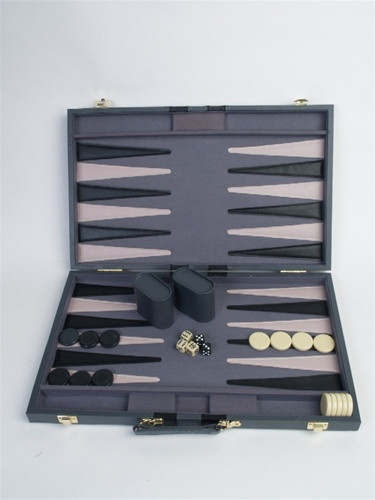 "Backgammon Set, 21"" Black Leatherette Attache"
