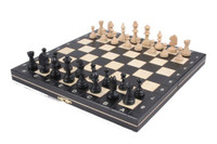 Wooden Magnetic Travel Chess Set with Black Chess Board and Storage Compartment