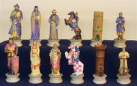Arab-Christian Crusades Painted Resin Chessmen Chess Pieces