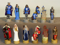 King Arthur's Court Painted Resin Chess Set: Sapele/Maple Chess Board chess pieces