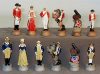 Amer. Revolutionary War Resin Chess Set, Cherry Stained Chest Bronze/Silver Chess Board