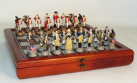 Amer. Revolutionary War Resin Chess Set, Cherry Stained Chest Bronze/Silver Chess Board chess pieces-set