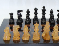 Alabaster Chess Set Black and Brown-pieces1