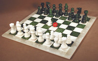 Alabaster Chess Set Green and White