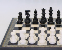 Alabaster Chess Set Black and White Inlaid Wood1