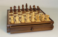 Wood Inlaid Chest and Chess Pieces
