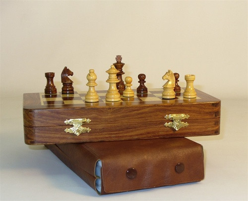 Golden Rosewood Wood Magnetic Folding Chess Set - Chess Pieces and Matching Chess Board