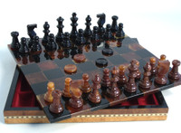 Alabaster Chess & Checkers Set  in Inlaid Wood Chest, Chess Set - Chess Pieces, Checkers and Matching Chess Board