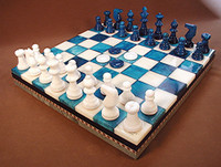Alabaster Chess & Checkers,  Inalid Wood Chest, Chess Set - Chess Pieces, Checkers and Matching Board