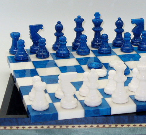 Alabaster Chess & Checkers,  Inlaid Wood Chest, Chess Set - Chess Pieces, Checkers and Matching Board1