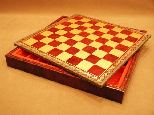 """Chess Board Pressed Leather on Wood 1"""" ww1-218GR"""