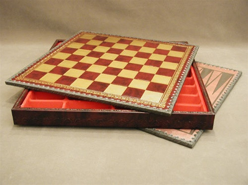 """Chess Board Pressed Leather on Wood 1.25""""  219GR"""