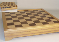 "Inlaid Beech and Maple Chess Board, with Storage  2"" squares"