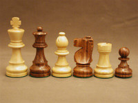 French Knight Sheesham and Boxwood Wood Chess Pieces 3.5""