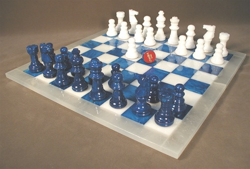 Alabaster Chess Set in Blue and White