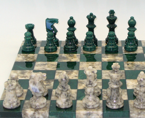Alabaster Chess Set in Green and Grey-1