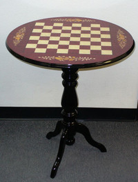 Chess Table - Round Briarwood wine Floral inlay
