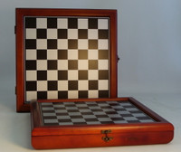 "Cherry Stained wood Chest Bronze and Silver 13"" Silk Screened Chess Board 1.5"" Sq. Slots for men 3.5"" x 1' x 1"""