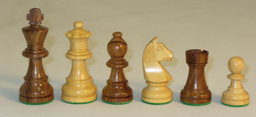 """The German Knight - Golden Rosewood and Boxwood Chess Pieces - 3"""" King"""
