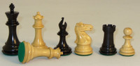 "The Majestic - Black and Natural Boxwood Chess Pieces - 3.5"" King"
