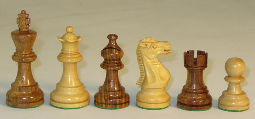 The Emperor - Golden Rosewood and Natural Boxwood Chess Pieces - 3""